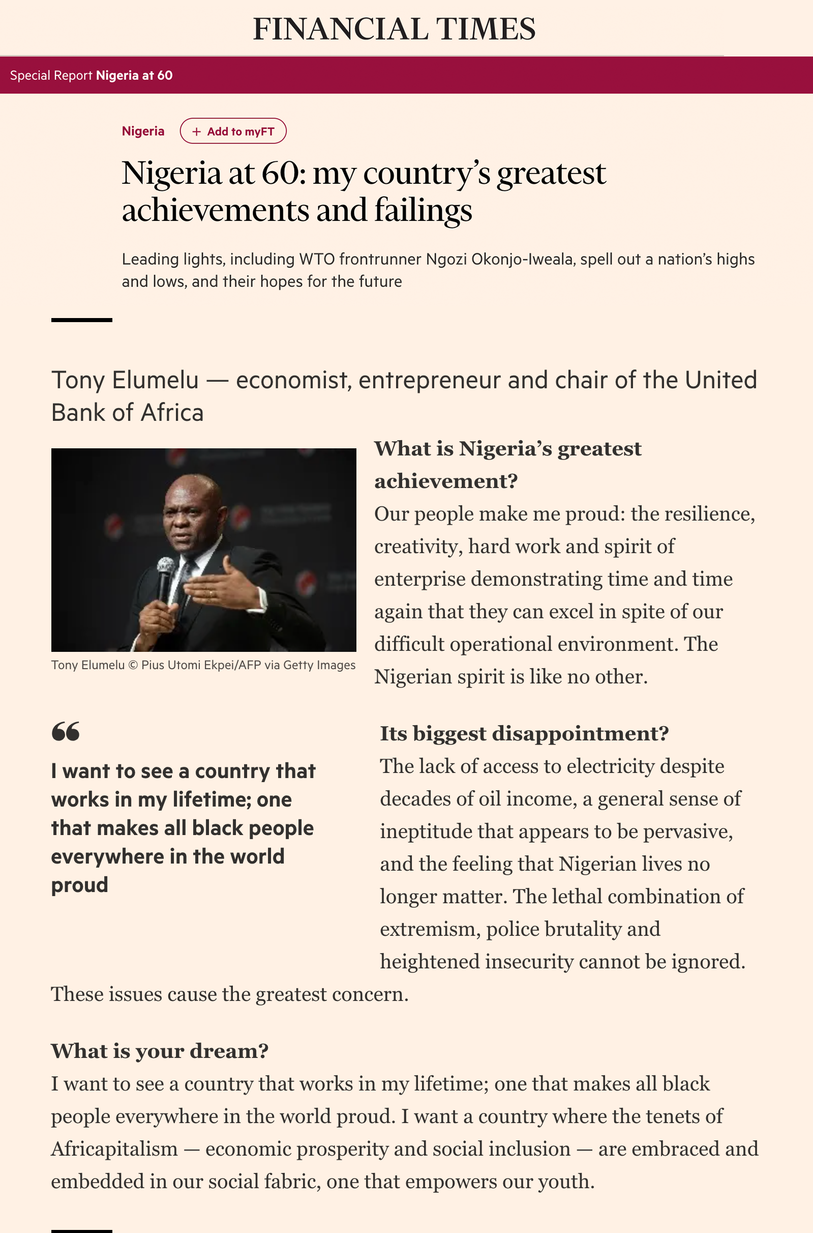 Financial times article by the Chairman of Heirs Holdings, Tony Elumelu