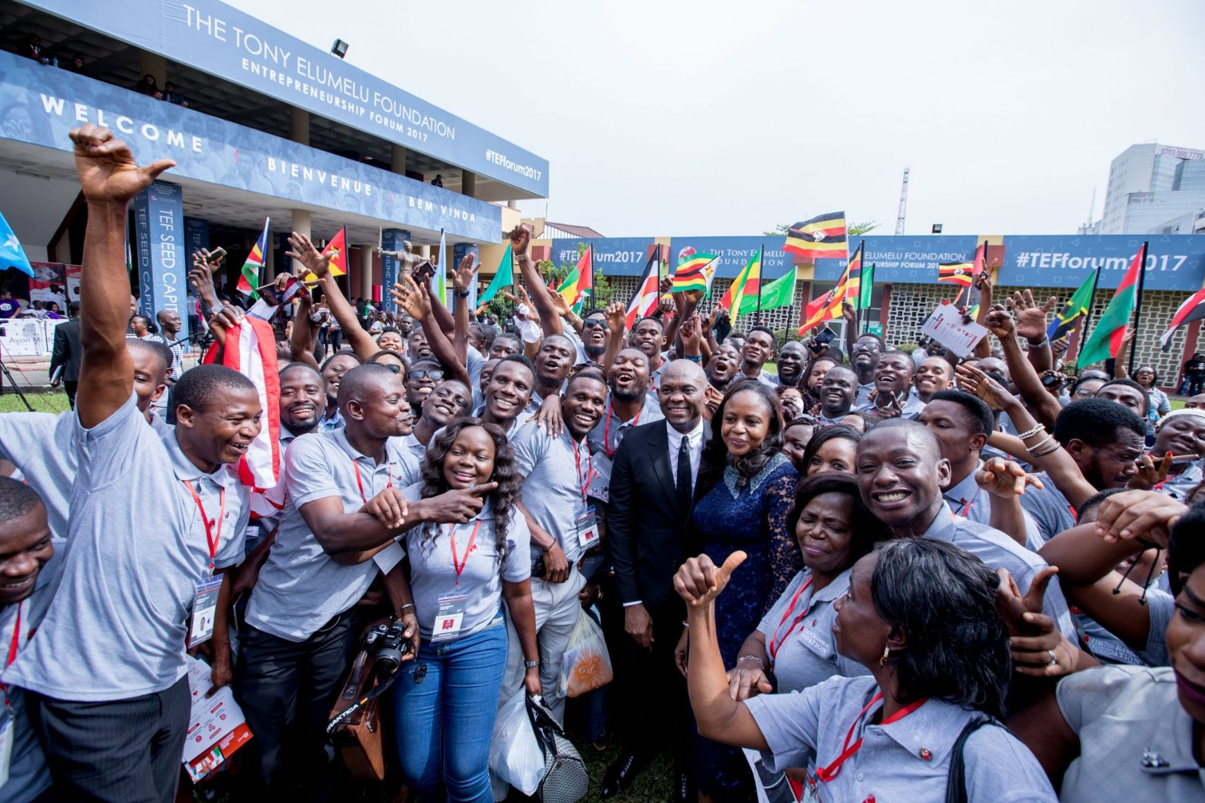 Heirs holdings Chairman, Tony Elumelu and Dr Awele Elumelu surrounded by African entrepreneurs at the 2017 TEF Forum